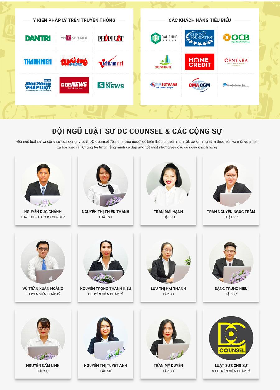 Đội ngũ luật sư DC Counsel thường xuyên đóng góp ý kiến pháp lý trên các báo điện tử lớn nhất Việt Nam và nhiều đối tác khách hàng trong và ngoài nước tin tưởng hợp tác.