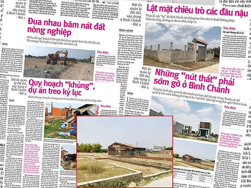 Tình trạng phân lô, xây dựng trái phép trên đất nông nghiệp vẫn đang là vấn nạn ở huyện Bình Chánh. Ảnh: VIỆT HOA